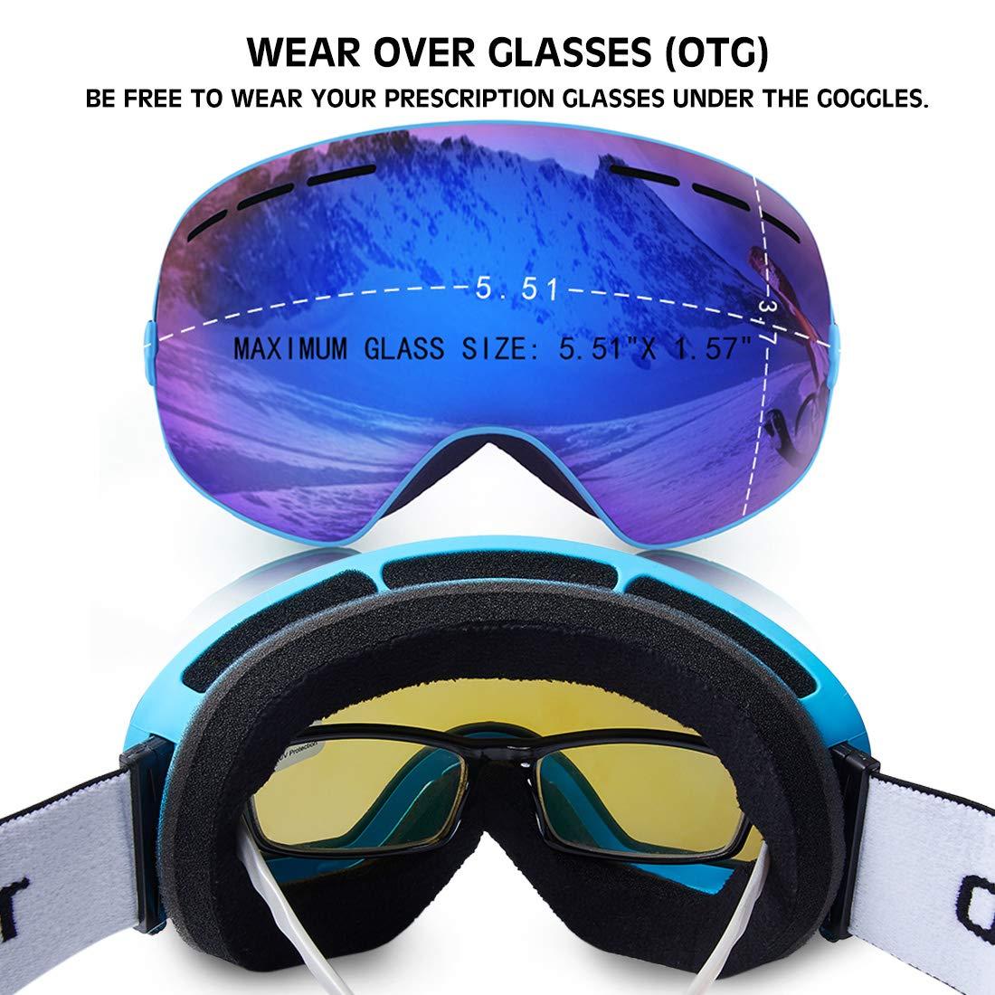TUONROAD Skibrille, Schneebrille, Snowboardbrille, Snowboard Wintersport Brille, Doppel-Objektiv UV-Schutz Anti-Nebel für Herren Damen Jungen Skifahren Snowboarden Snowmoblie