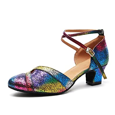 273ccb4a742c Minishion Women s Fashion Ankle Strap Multicolor Glitter Latin Salsa Dance  Shoes Formal Wedding Pumps US 4.5