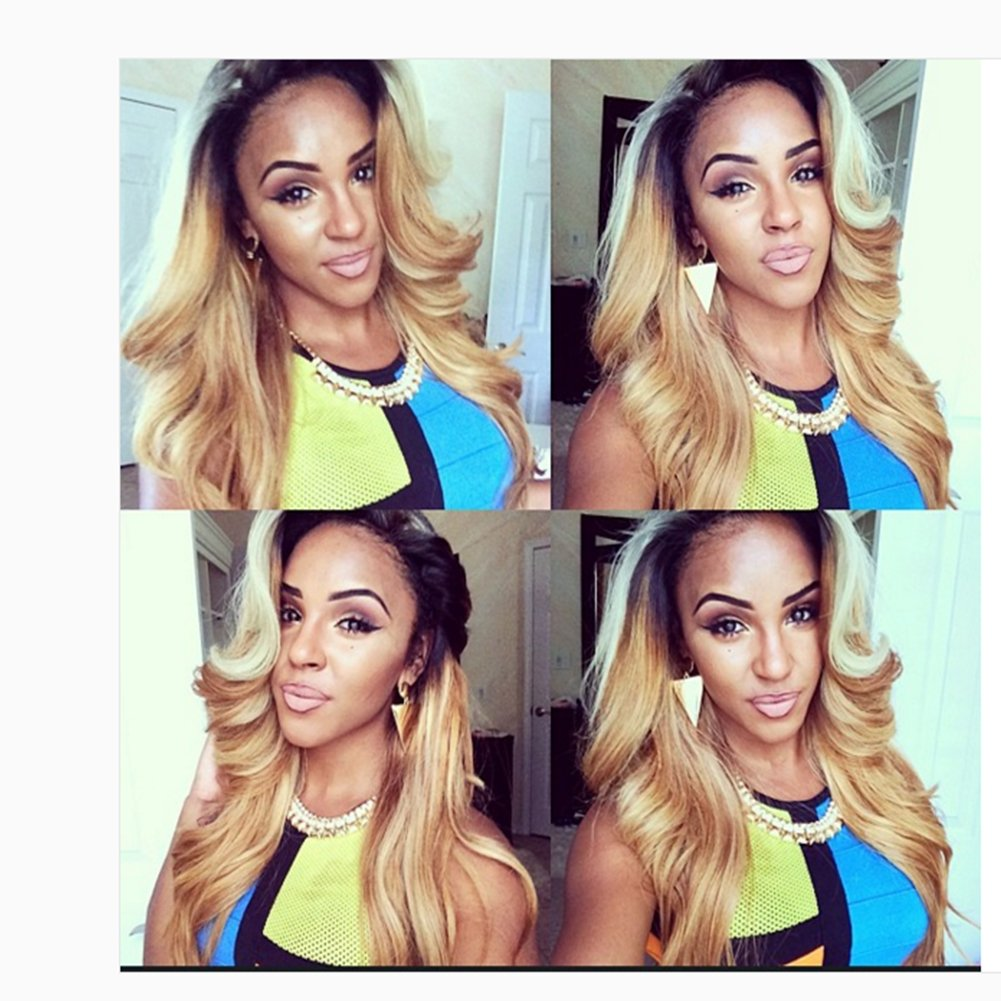 Human Hair Ombre Blonde Full Lace Wigs Dark Root Loose Wave Bleached Knot Pre Plucked Hairline 180% Density Lace Front Wig (20'', lace frontal wig) by Dreambeauty (Image #2)