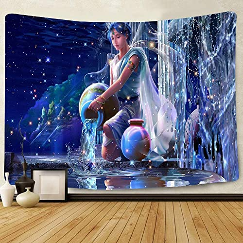 Simsant Aquarius Constellation Tapestry Astrology Beautiful Photo Background Wall Decoration 80 x60 203x152cm Wide Wall Hanging for Bedroom Living Room Dorm SIHX589