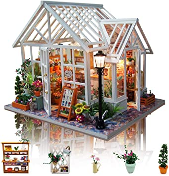 erhumama Meubles de Maison de poup/ée Kits LED Bricolage en Bois Miniature Chinoise antiquit/é BBQ Boutique b/âtiment mod/èle Puzzle Jouet Cadeau danniversaire