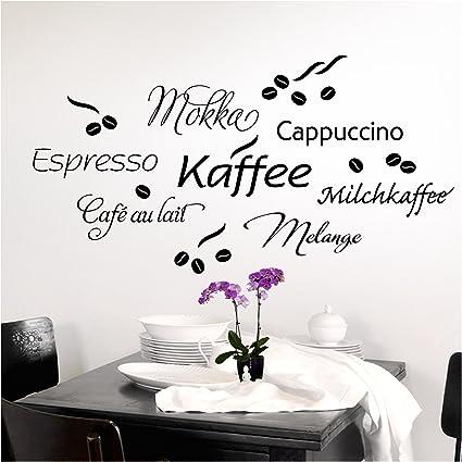 Wandtattoo Wandsticker Wandaufkleber Küche Espresso Kaffeebohnen Coffee W3047