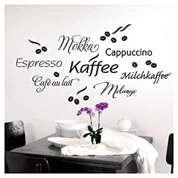 Grandora 1075w Wandtattoo Kaffee Cappuccino Espresso Milchkaffee