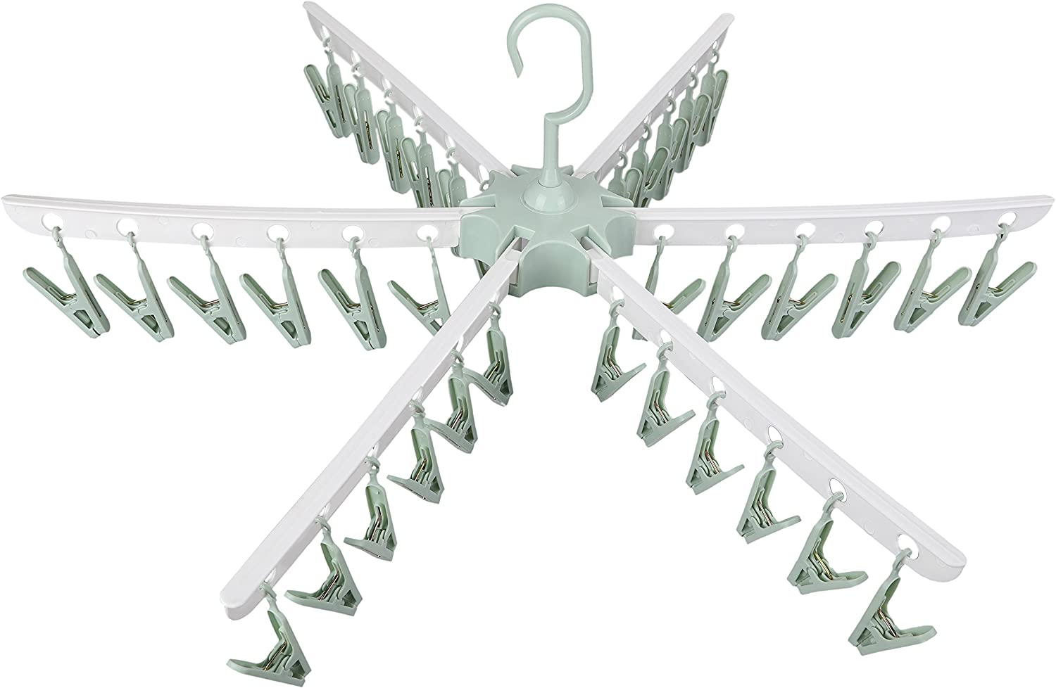 Swivel Hook Plastic 36 Pegs Drying Rack Clothes Hanger for Underwear Socks Gloves (Green)