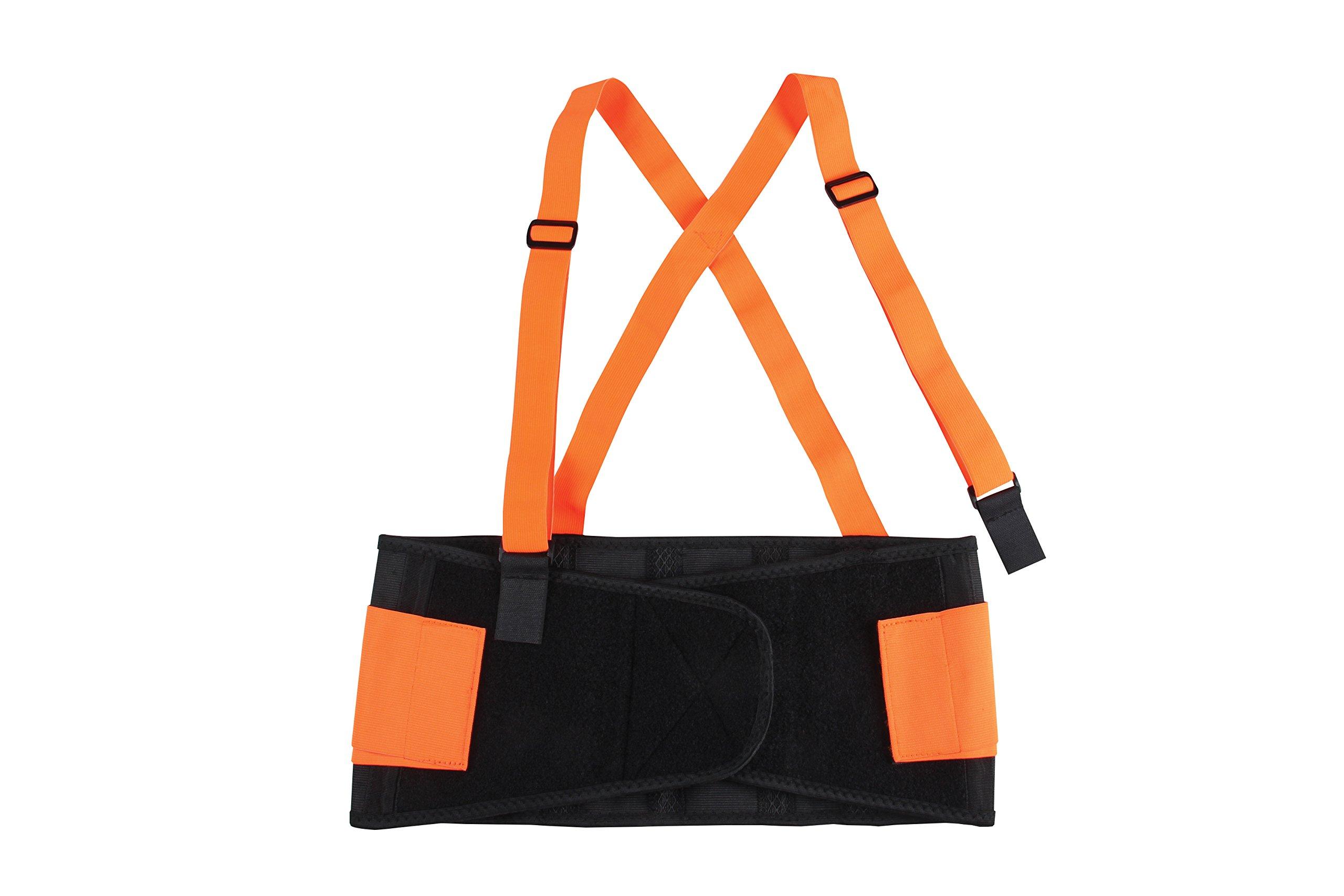 Safety Depot High Viz Elastic Back Support Belt Detachable Suspenders Anti Ride-Up (Small)