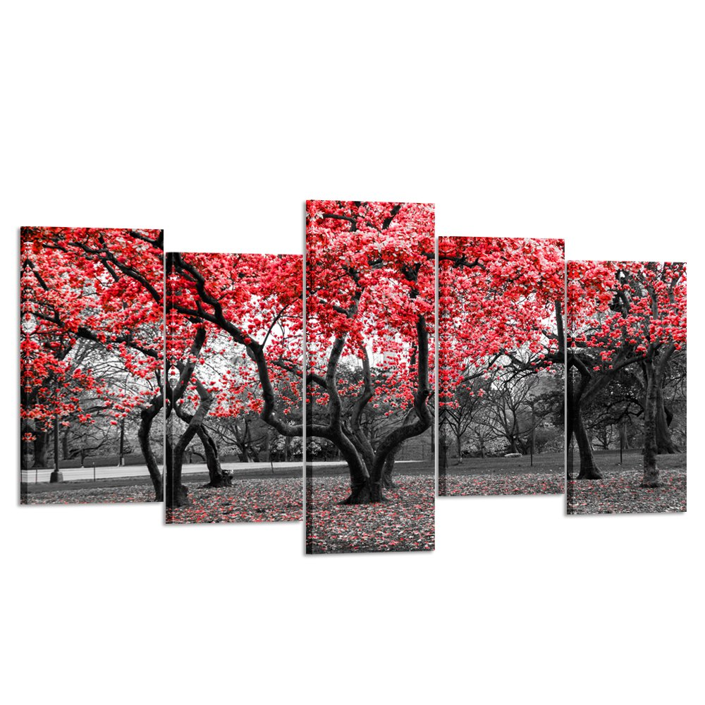 Kreative Arts - 5 Pieces Modern Canvas Painting Wall Art The Picture For Home Decoration Black White and Red Tree Landscape Print On Canvas Giclee Artwork For Wall Decor