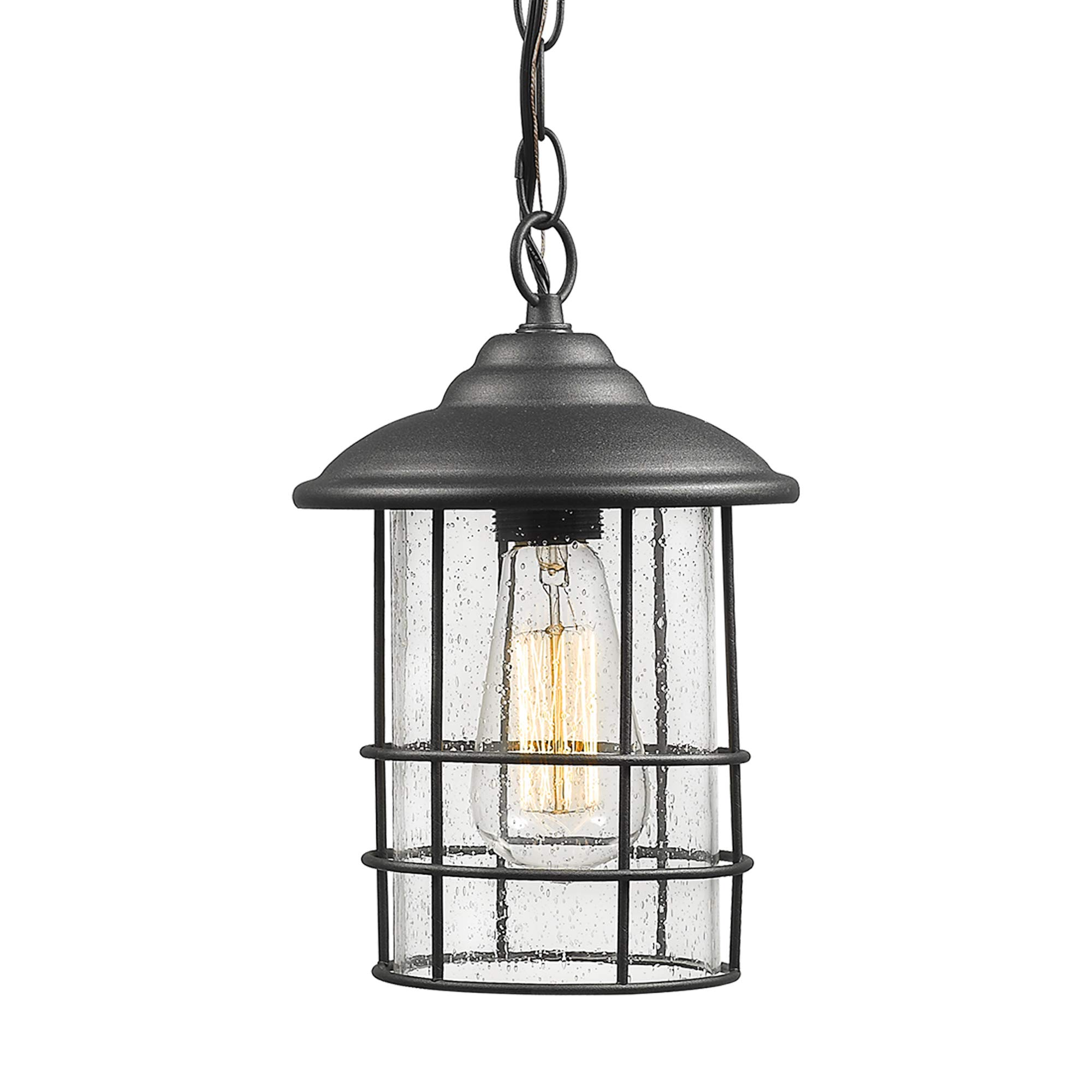 Emliviar 1-Light Outdoor Pendant Light, Exterior Hanging Lantern in Black Finish with Seeded Glass, 1803CW2-H by EMLIVIAR