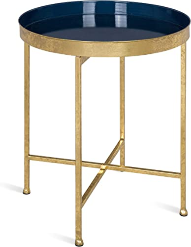 Kate and Laurel 214606 Celia Round Metal Side Table, 18.25×18.25×22, Gold Navy Blue