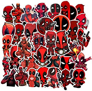 35 Pcs Trendy Stickers for Deadpool, Funny in Water Bottle Laptop Skateboard Luggage Computer Car Phone Motorcycle Bicycle Guitar Decal Cool Trendy Vinyl Waterproof Stickers