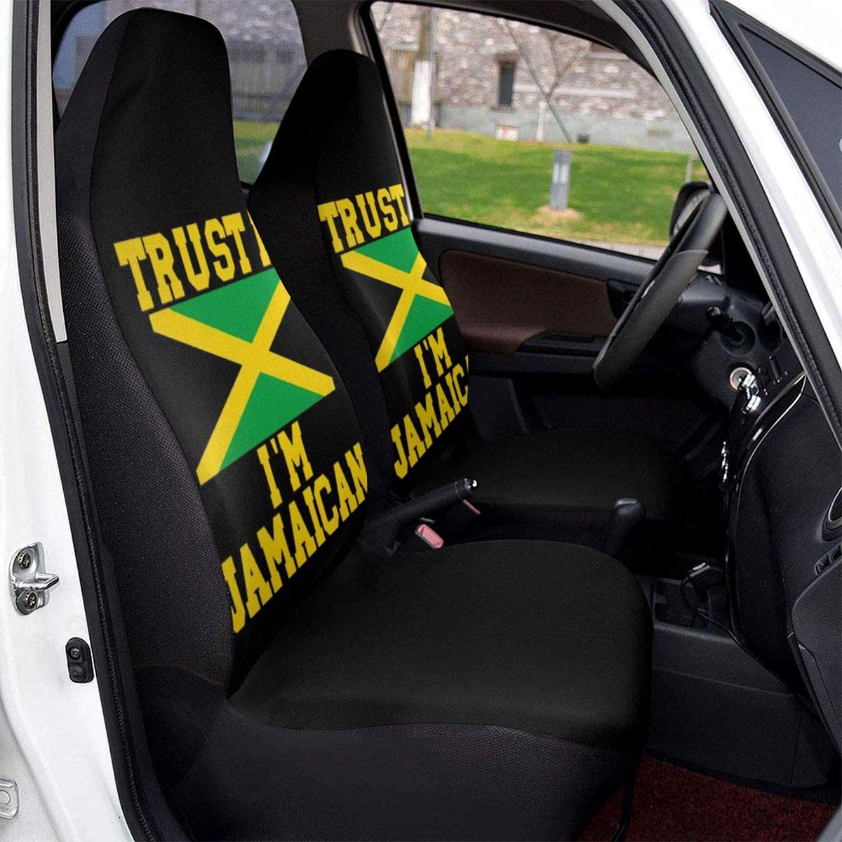 Trust Me Im Jamaican Universal Fit Full Set Car Seat Cushion Set Of Two Front Covers Non-Slip Backing//Easy Installation CHILL/·TEK Car Seat Covers