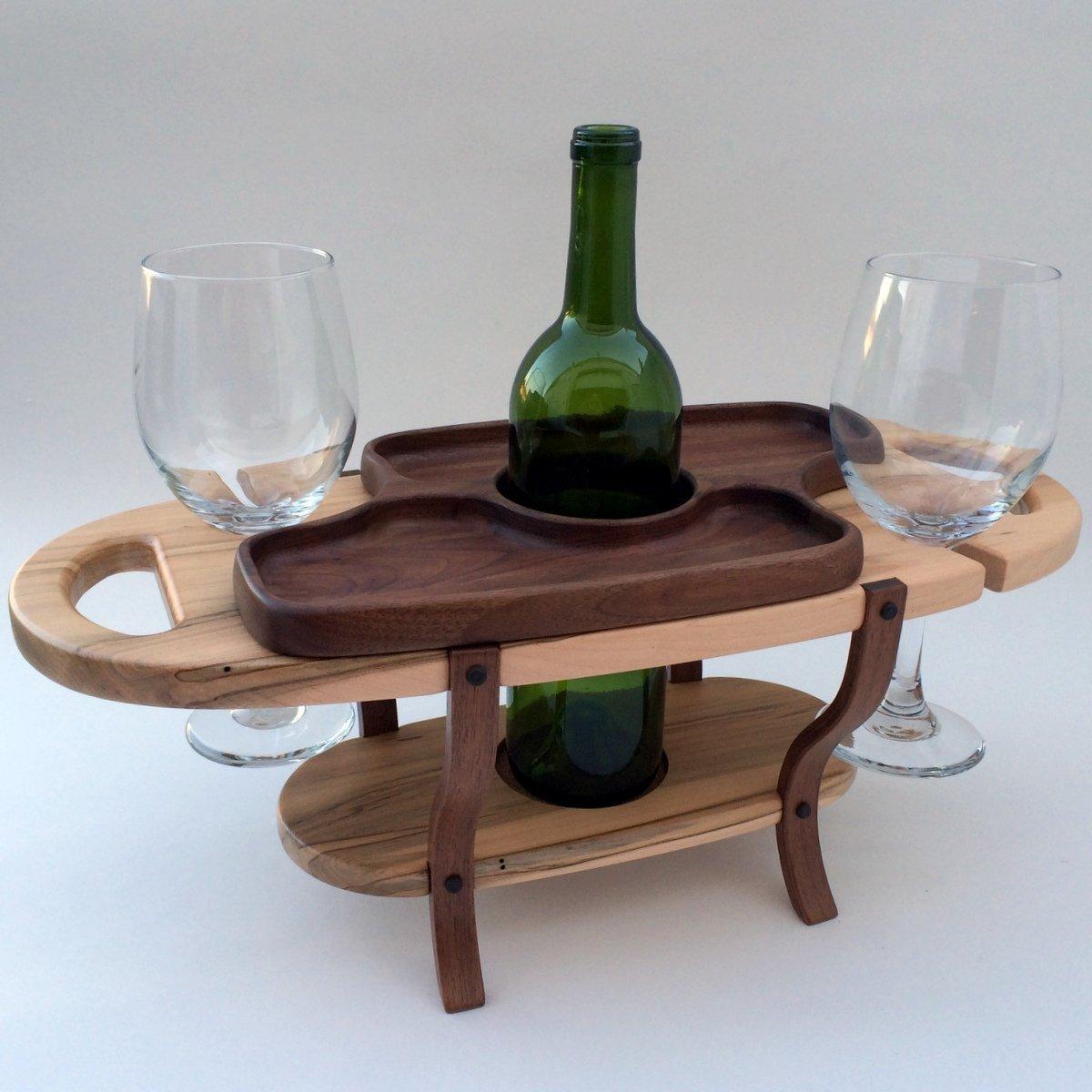 Amazoncom Handmade Wood Wine Caddy Tabletop Wine Bottle Rack