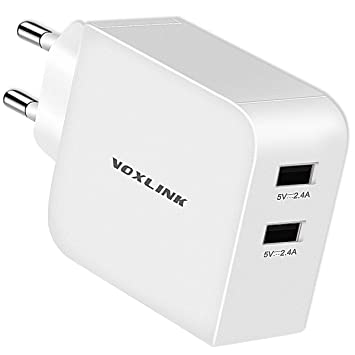 VOXLINK 2 Puertos USB Portátil Cargador Móvil, Cargador de Pared de Red 24W 4.8A USB para iPhone XS MAX 8/7/6 Plus, iPad Air/Pro, Samsung S9/S8 Plus ...