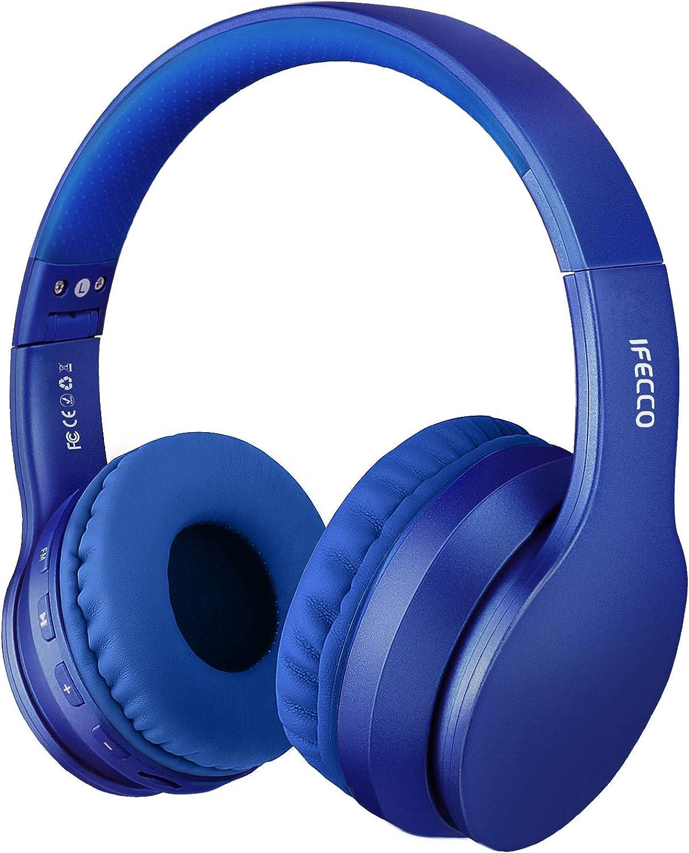 Ifecco Bluetooth Estéreo Auriculares Música Sobre-oído Sonido de alta fidelidad, Bluetooth Banda para la cabeza plegable con micrófono y cable de audio para Apple iPhone, PC(azul)