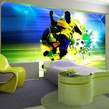 murando - Fototapete Fussball 350x256 cm - Vlies Tapete - Moderne Wanddeko  - Design Tapete - Wandtapete - Wand Dekoration – Fußball Ziegel Graffiti ...