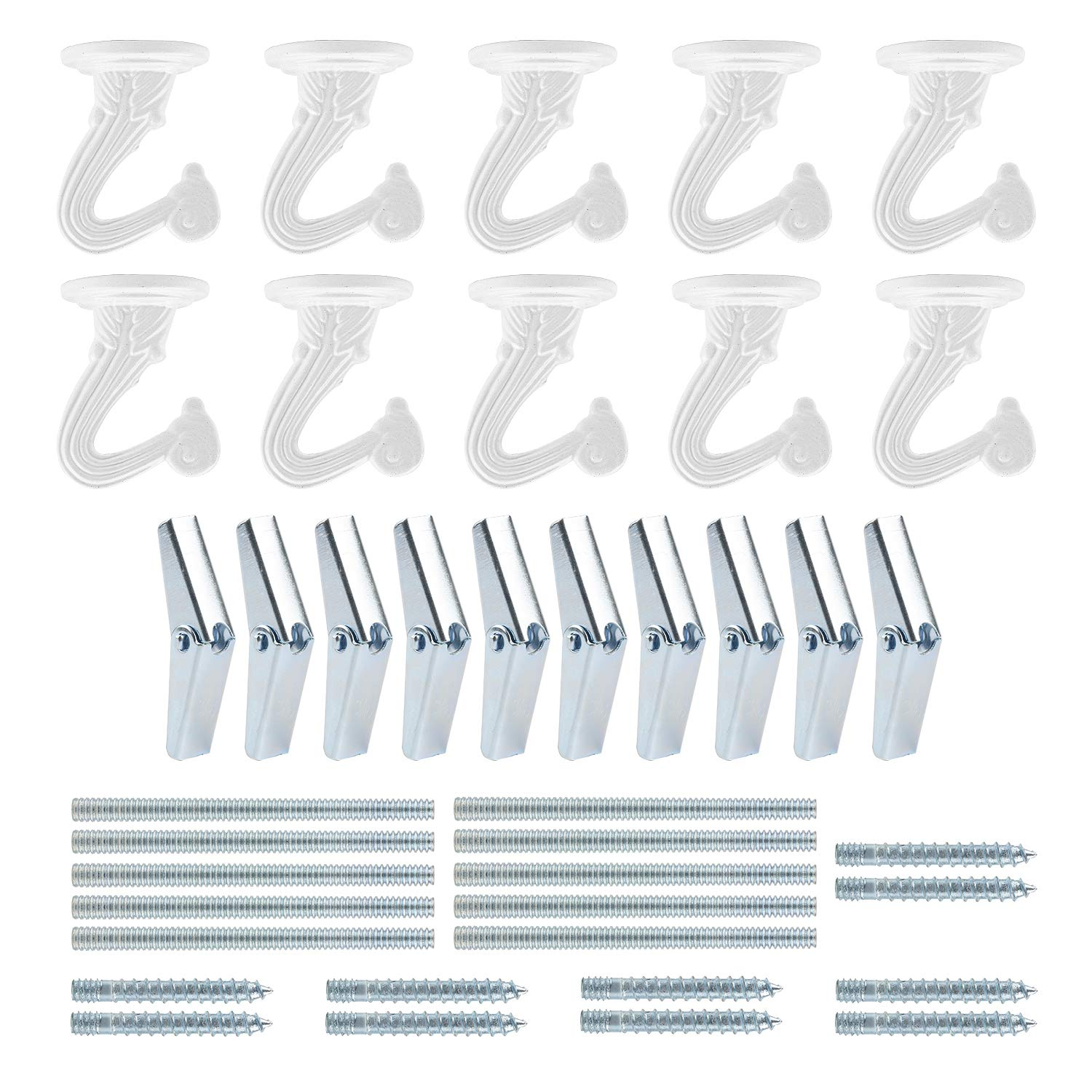 10 Sets Ceiling Hooks - Heavy Duty Swag Hook with Steel Screws Bolts and Toggle Wings for Hanging Plants Ceiling Installation Cavity Wall Fixing White