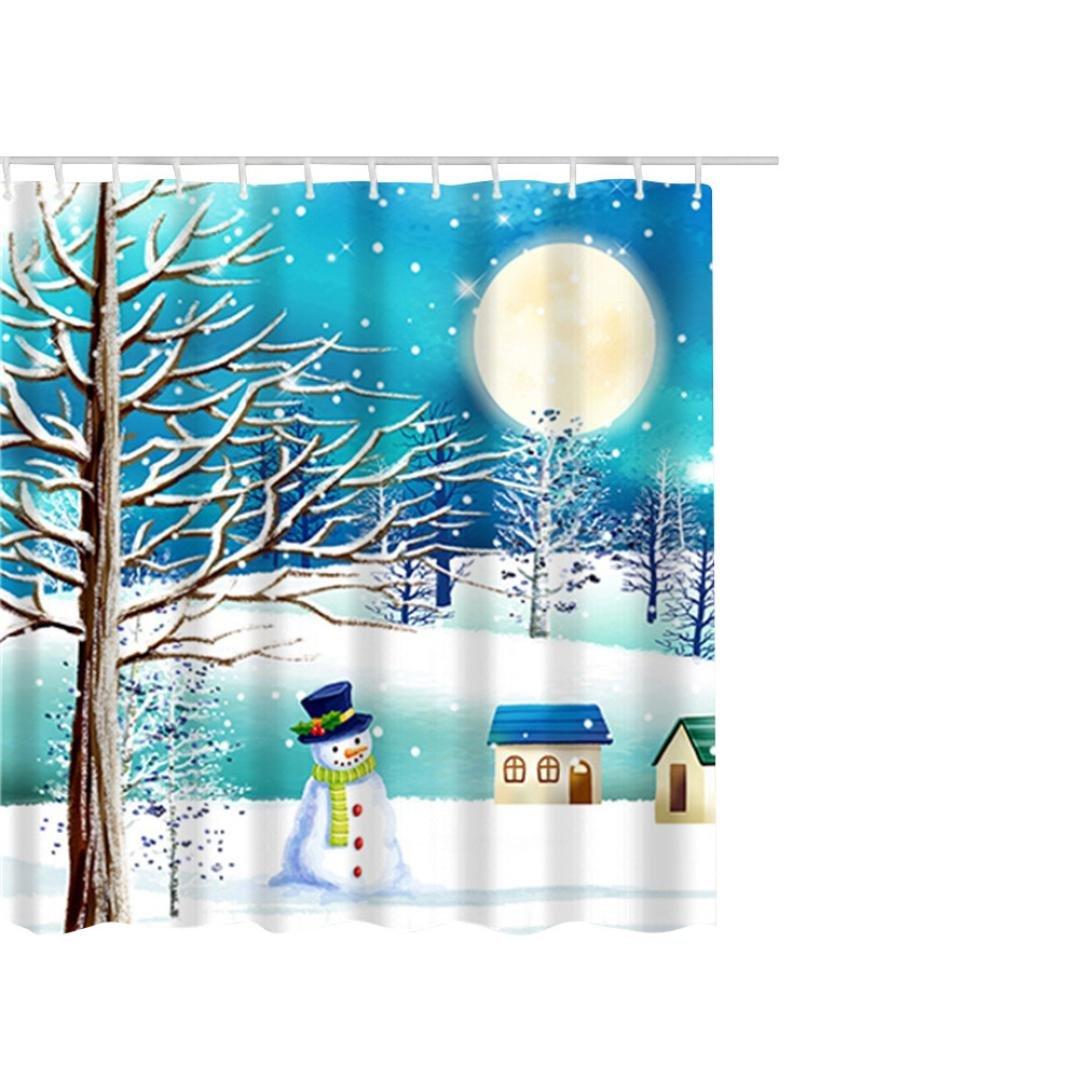 HKFV Weihnachtswasserdichter Polyester-Badezimmer-Duschvorhang-Dekor ...