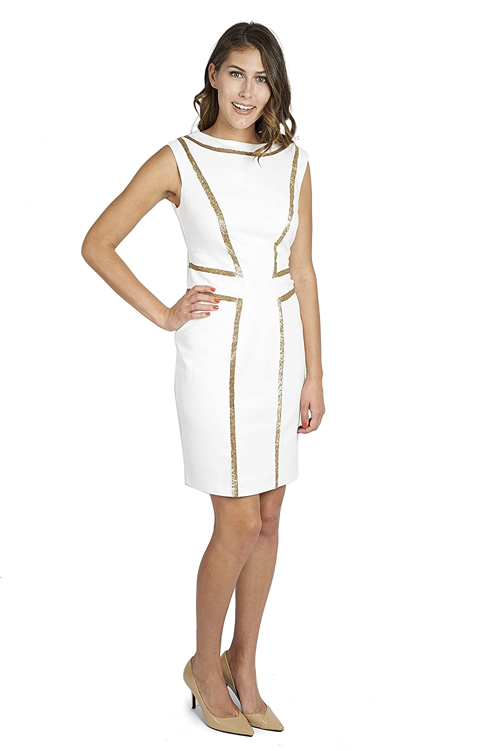Joseph Ribkoff Dress with Golden Sequin Pattern Style 171412 at Amazon Womens Clothing store: