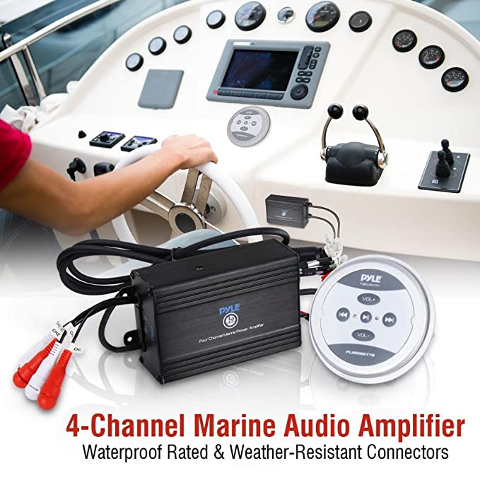 Amazon.com: Waterproof Bluetooth Marine Amplifier Receiver - Weatherproof 2 Channel Wireless Amp for Stereo Speaker with 600 Watt Power, Wired RCA, ...