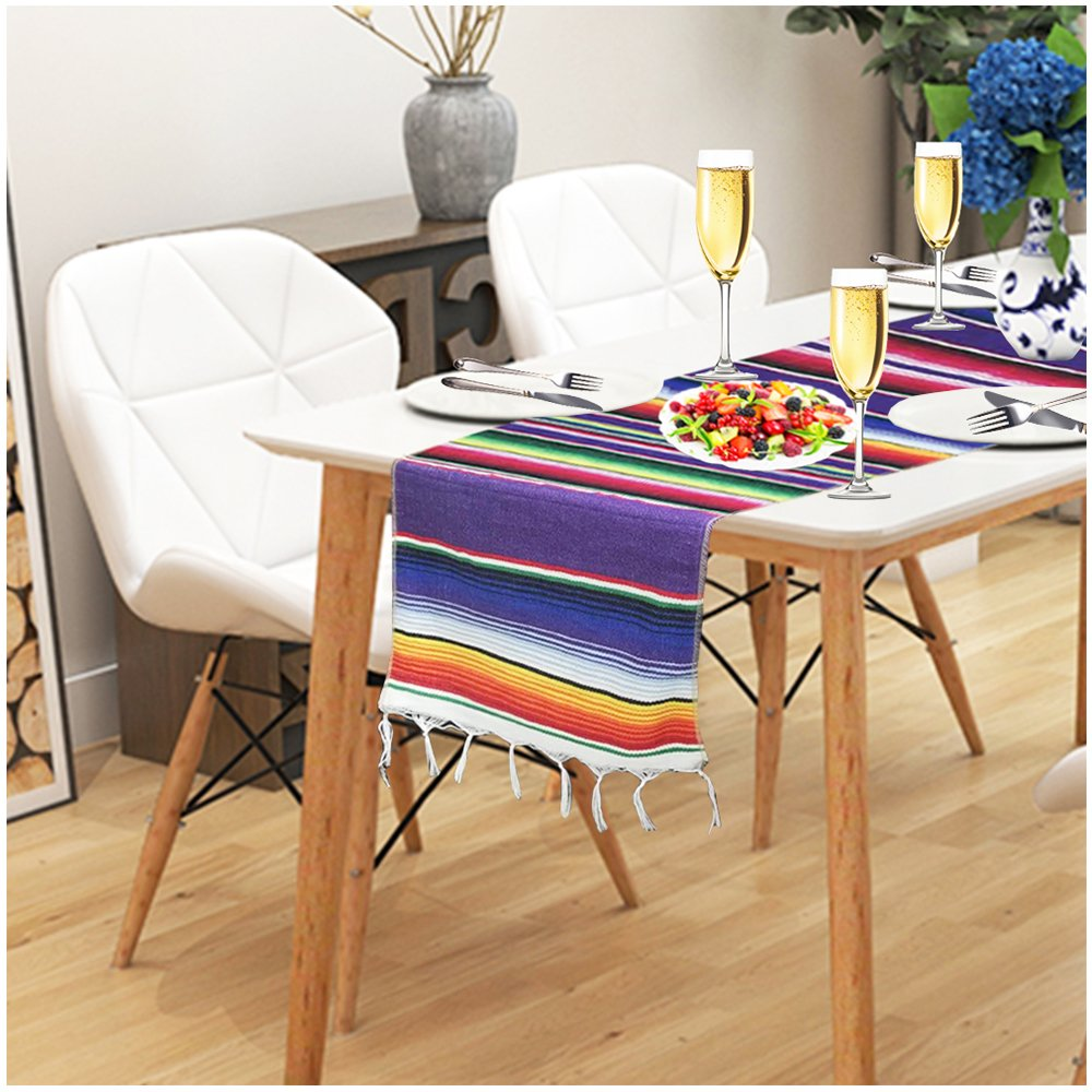 Genmo mexican serape table runner dining coffee kitchen outdoor picnic decorative table runner long colorful striped fringe cotton table runner for mexican