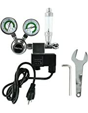 YaeTek CO2 Regulator Aquarium Big Dual Gauge Display with Bubble Counter and Check Valve w/Solenoid 110V Fits Standard US Tanks Easy to Adjust CO2 Level Comes w/Tools (CGA320)