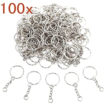 JZK 100 X Anilla de llavero anillas llaveros anillo de llavero con cadena 25 mm anillas llaveros separables