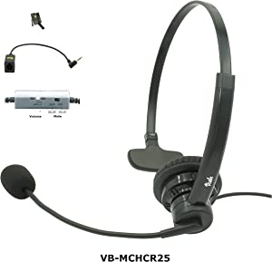 Visbr Call Center Headset | Work at Home, at Work | Compatible to Home Office Phones & Business phones | Premium Voice Quality, Noise Canceling, Volume control, Mute, 4.5ft cord, RJ9 & 2.5mm Connector
