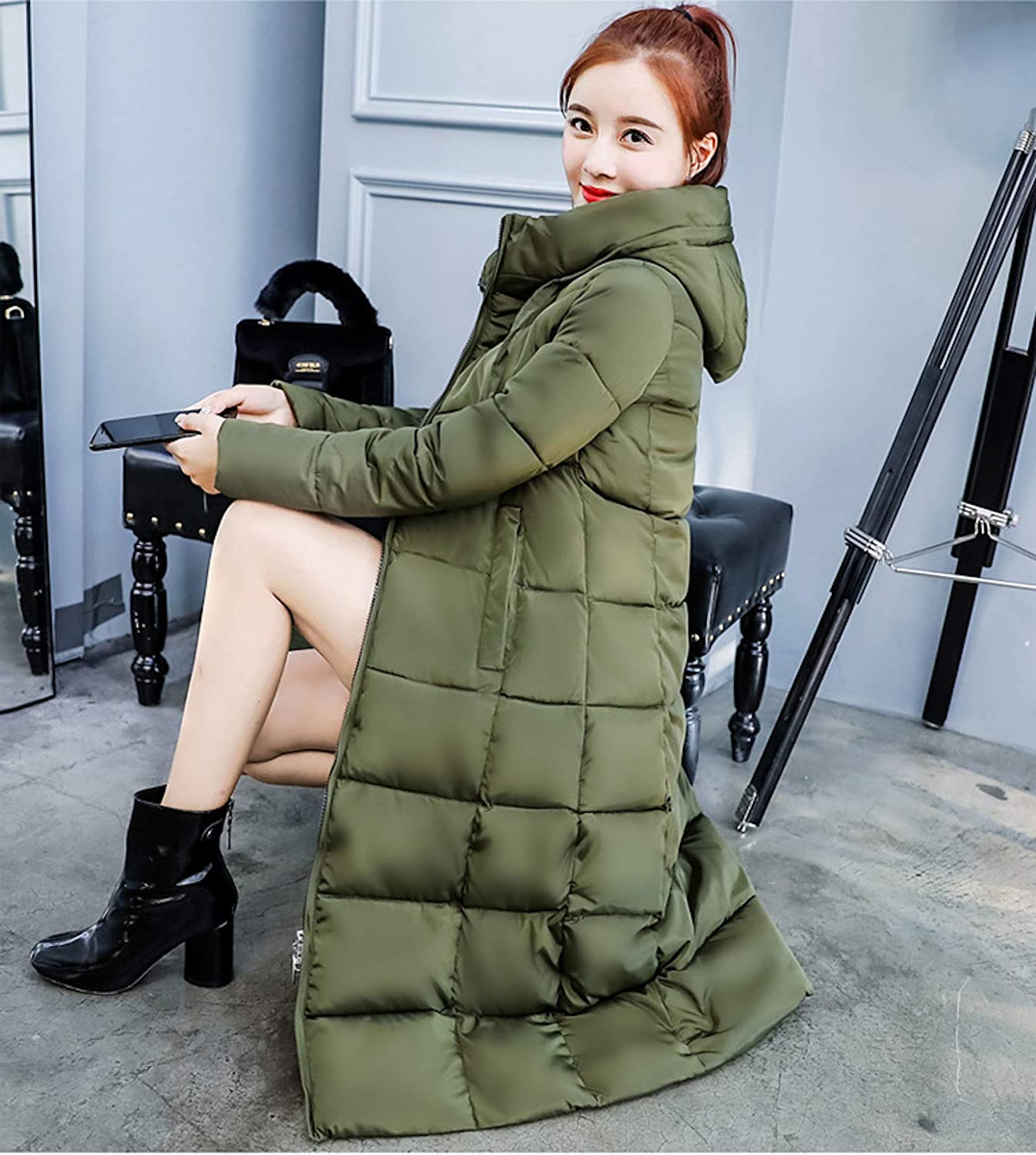 ZumZup Women Long Cotton Thick Padded Warm Quilted Down Coat Down Coat Hooded