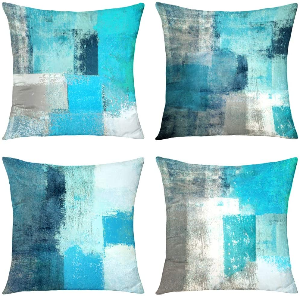 Alricc Teal Throw Pillow Cover,Pack of 4 Soft Velvet Decorative Cushion Cover for Sofa Bedroom Living Room (18X18 inch,Teal)