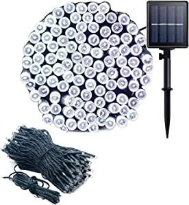 Gr8buy Solar Outdoor Christmas Fairy String Lights with 72ft / 200 LED for Patio Garden Tree Bedroom Holiday Decoration, 8 Twinkling Mode Starry Lights with 1200mA Rechargeable Battery (White)