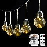 LE Luci Stringa luminosa vintage a Batteria 10 Lampadine LED stile Edison G45, 2,25 m 8 Modalità Bianco Caldo con Telecomando per Feste Natale, Decorazione Casa e Giardino, Classica