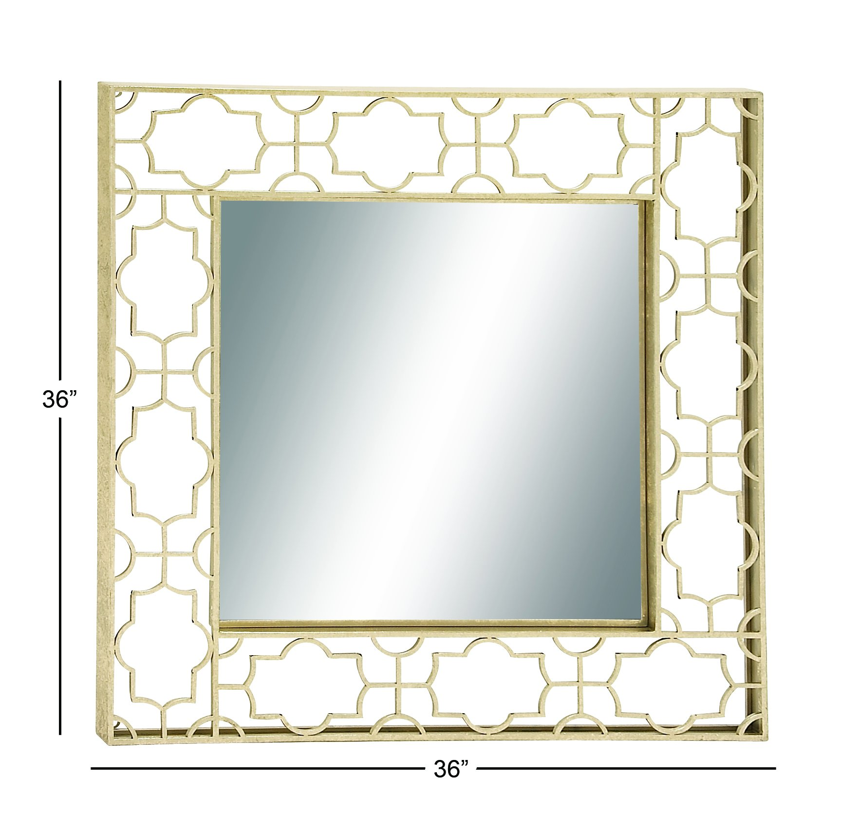 Deco 79 Metal Wall Mirror, 36 by 36-Inch - Color: light gold, onyx black Finish: polished Material: iron metal - bathroom-mirrors, bathroom-accessories, bathroom - 71fHrFP7%2BEL -