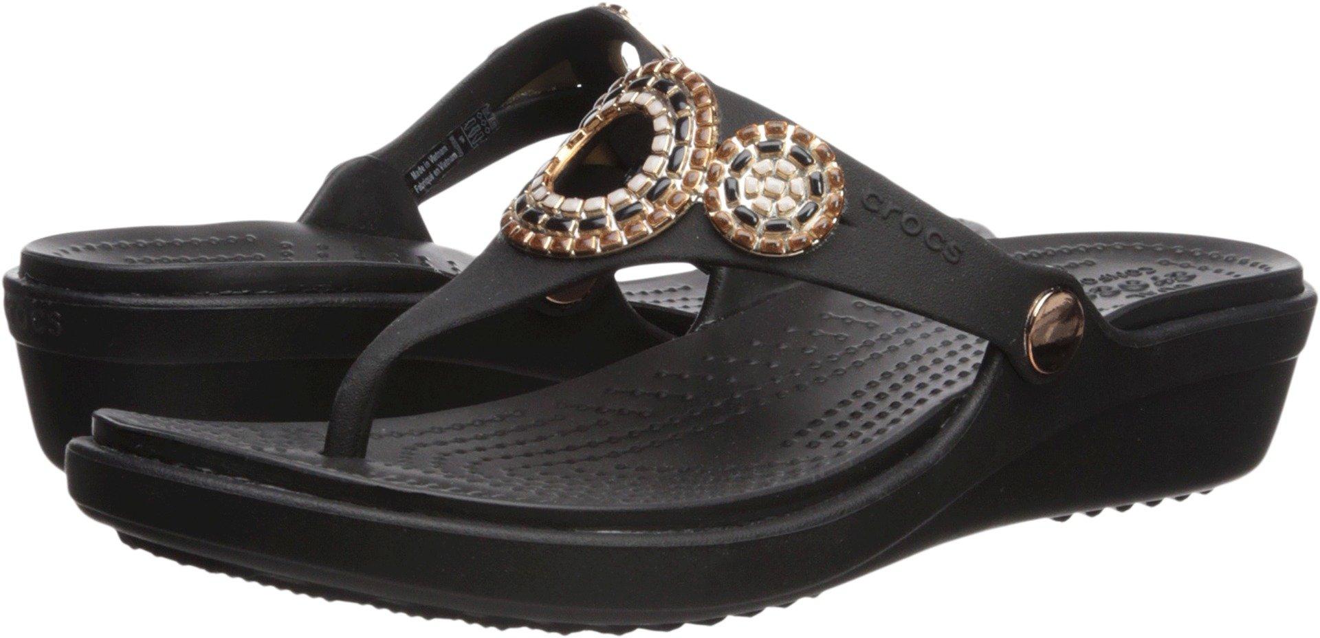 Crocs Women's Sanrah Diamante Wedge Flip W Sandal, Black/Rose Gold, 9 M US