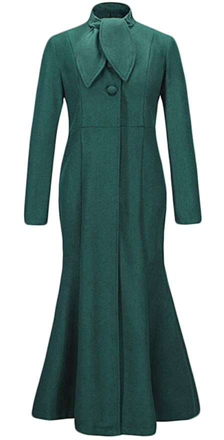 History of 1920s Coats, Furs and Capes XQS Womens Winter Retro Long Wool Pea Coat $48.69 AT vintagedancer.com