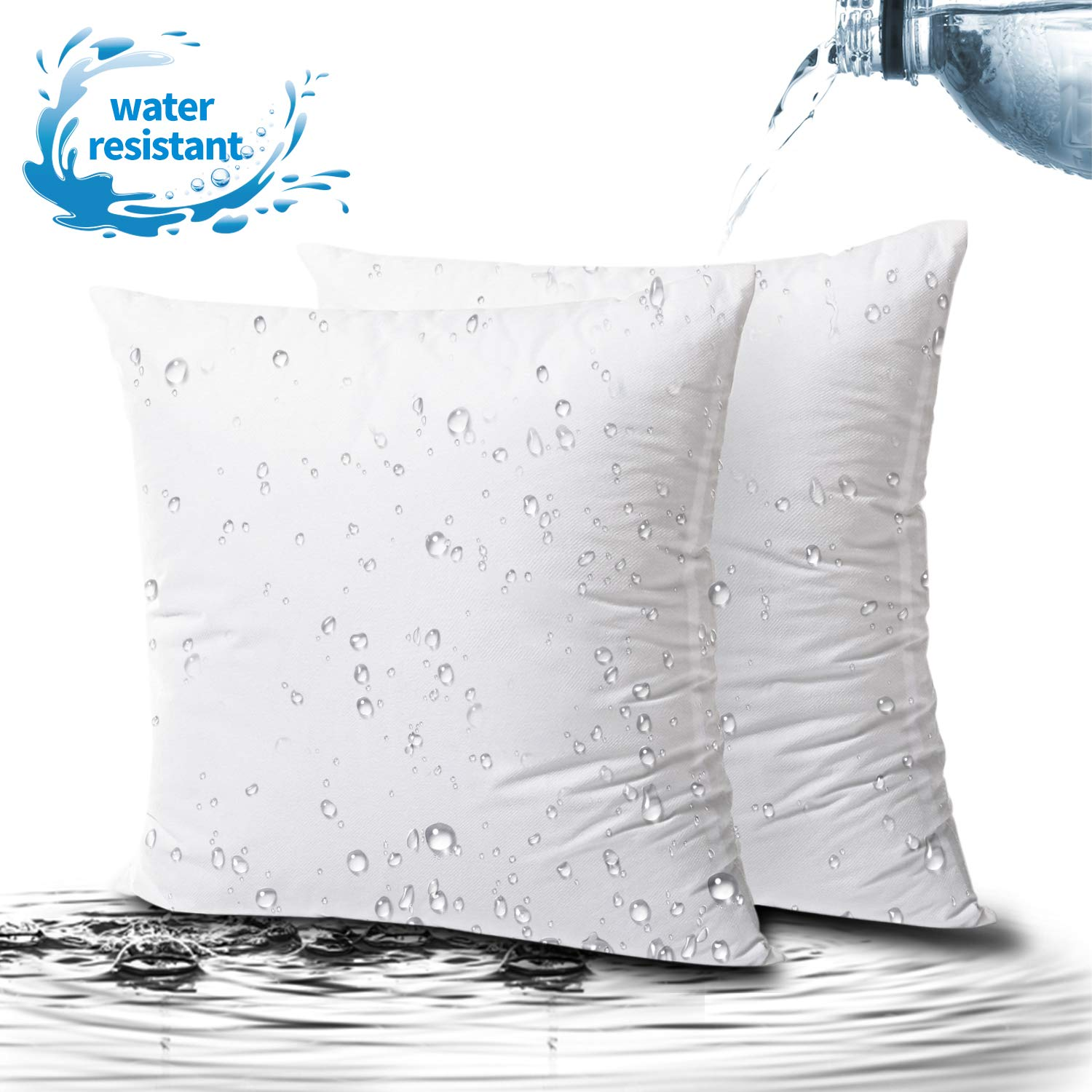 Phantoscope 2 Packs Outdoor Anti-Mold Water Resistant Throw Pillow Inserts Hypoallergenic Square Form Sham Stuffer 22 x 22 inches
