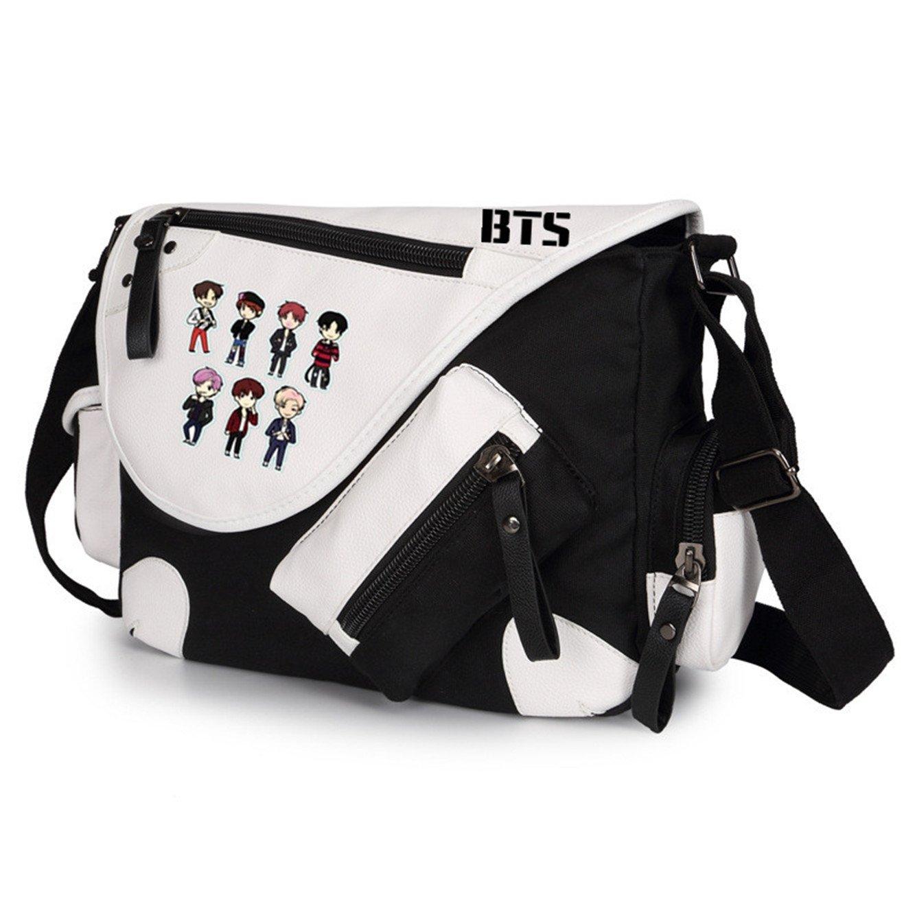JUSTGOGO Casual Messenger Bag Crossbody Bag Shoulder Bag Travel Bag Handbag Tote Bag (Black)