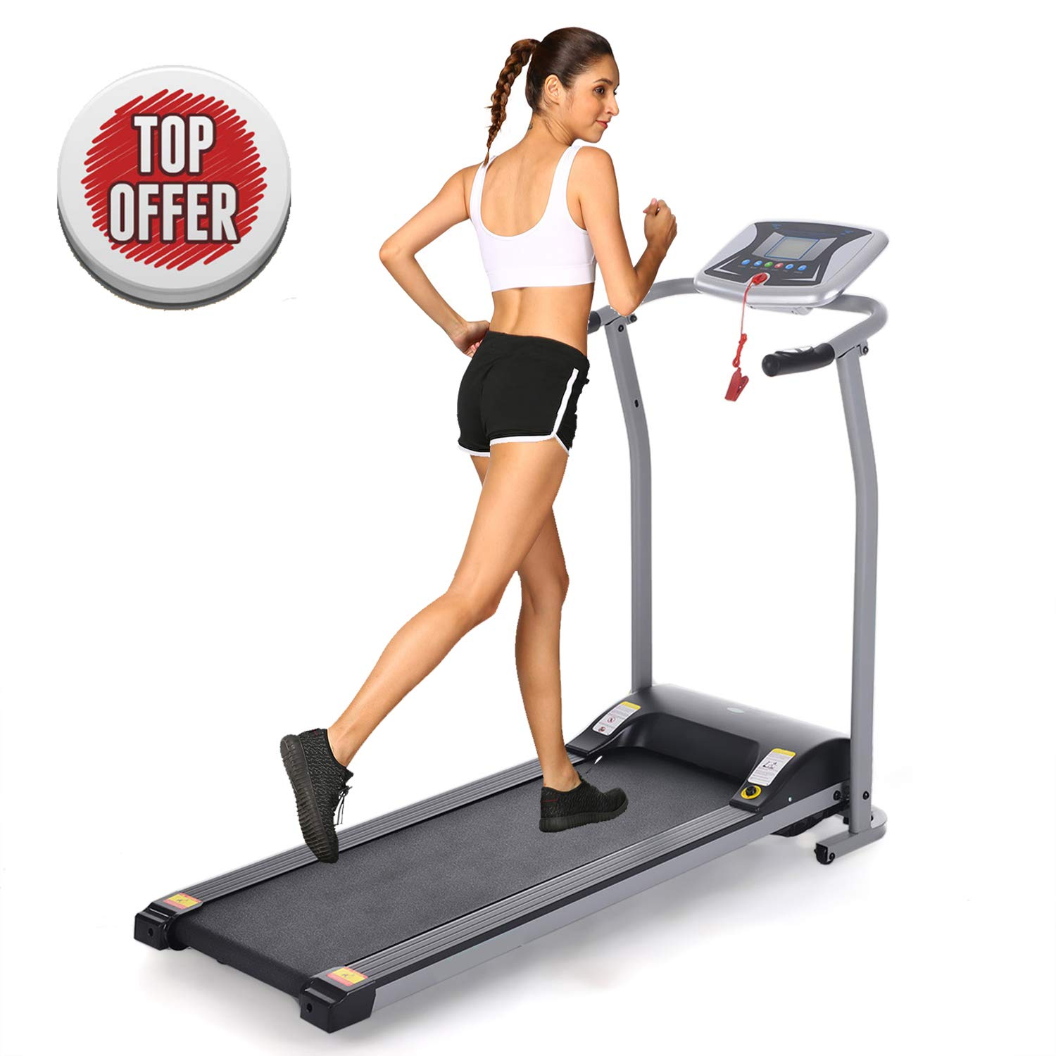 Folding Electric Treadmill Running Machine Power Motorized for Home Gym Exercise Walking Fitness (1.5 HP_Silver_Not Incline) by ncient