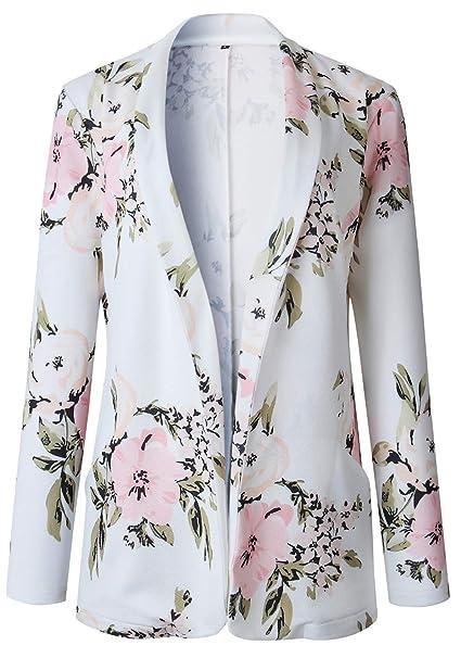 Manga Larga Collar Sin Botones Flor Flores Suit Blazer ...