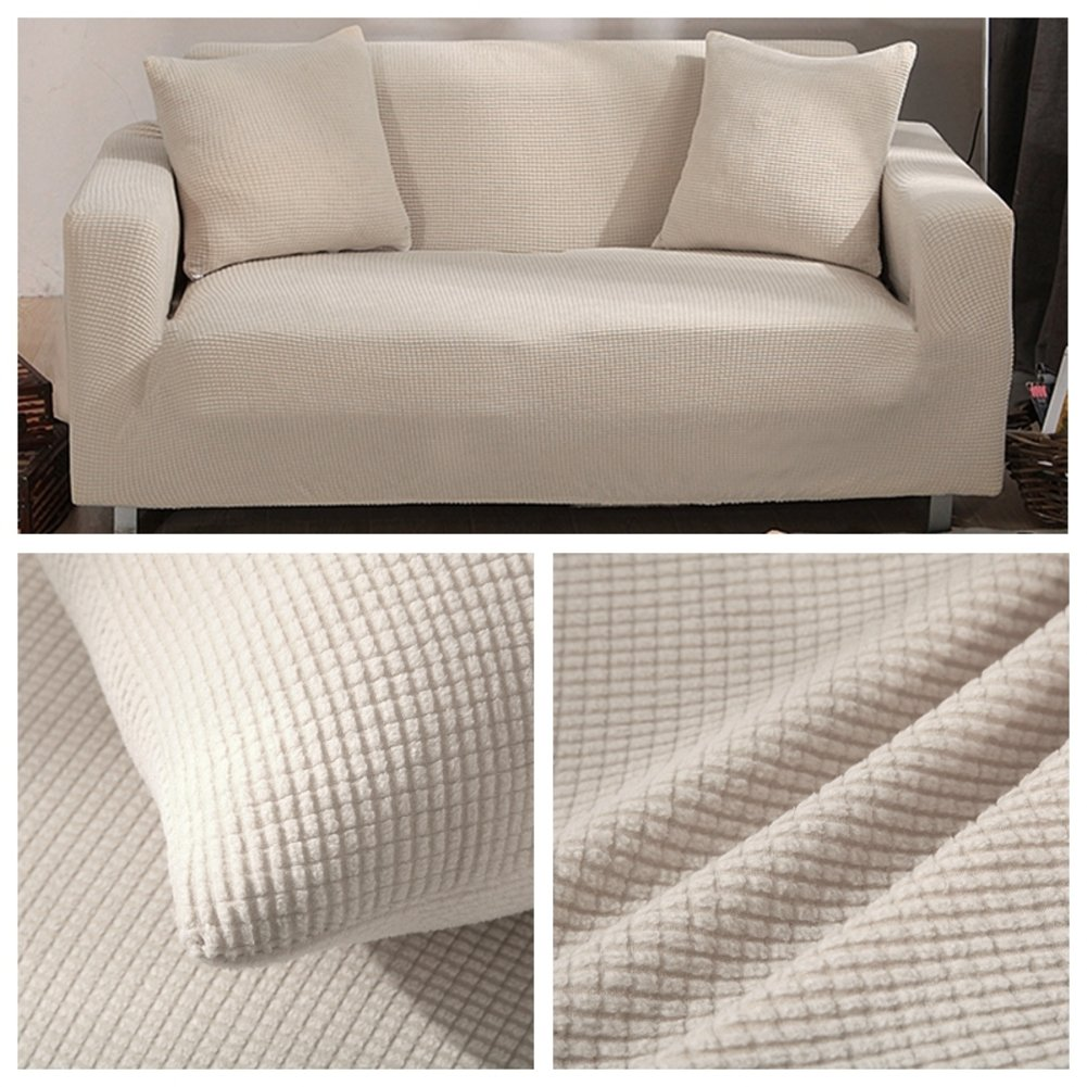 Creamy-white 4 Seater Creamy-white 4 Seater JiaQi Thicken Stretch Slipcovers sofa,Anti-slip Foams couch,Anti-mite Four seasons Pet dog cat predector Sofa sets Dust cover-creamy-white 4 Seater