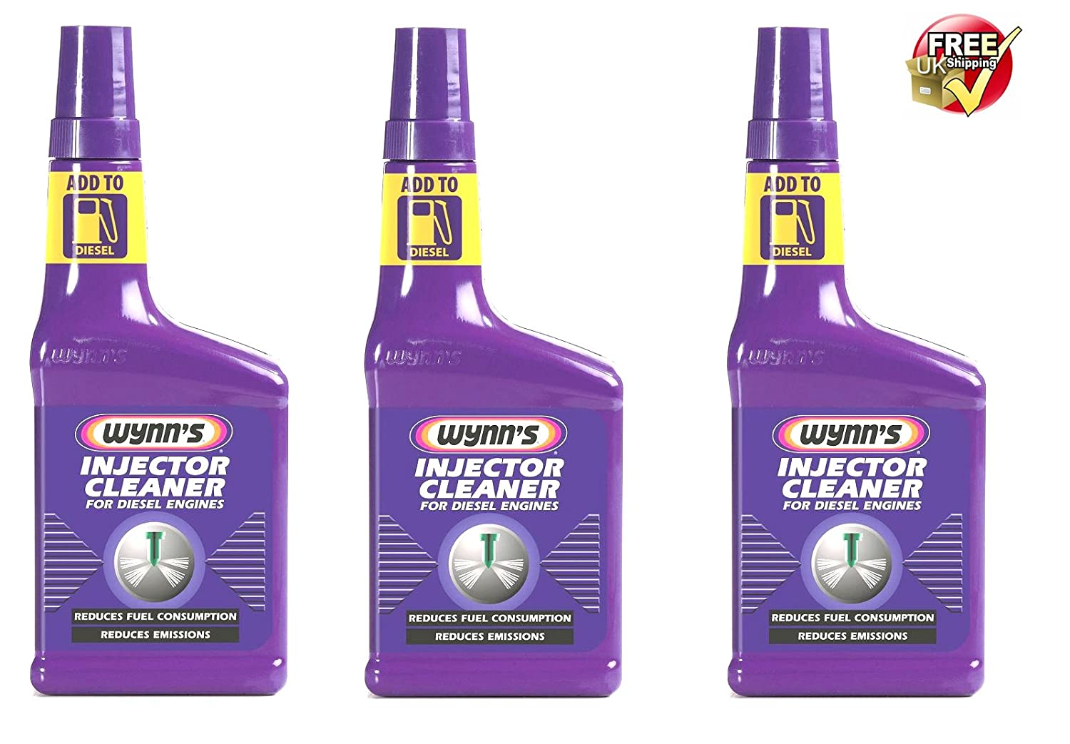 3 x WYNNS DIESEL INJECTOR CLEANER - REDUCES FUEL CONSUMPTION & EMISSIONS - 325ml UK