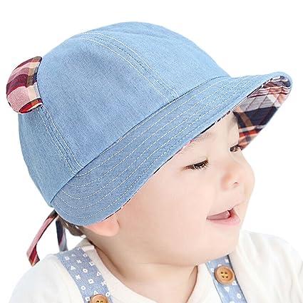 a522eb67e77d Tyidalin Chapeau de Soleil Bébé Garçon Bonnet Bob de Plage Anti UV Pliable  été en Coton ...