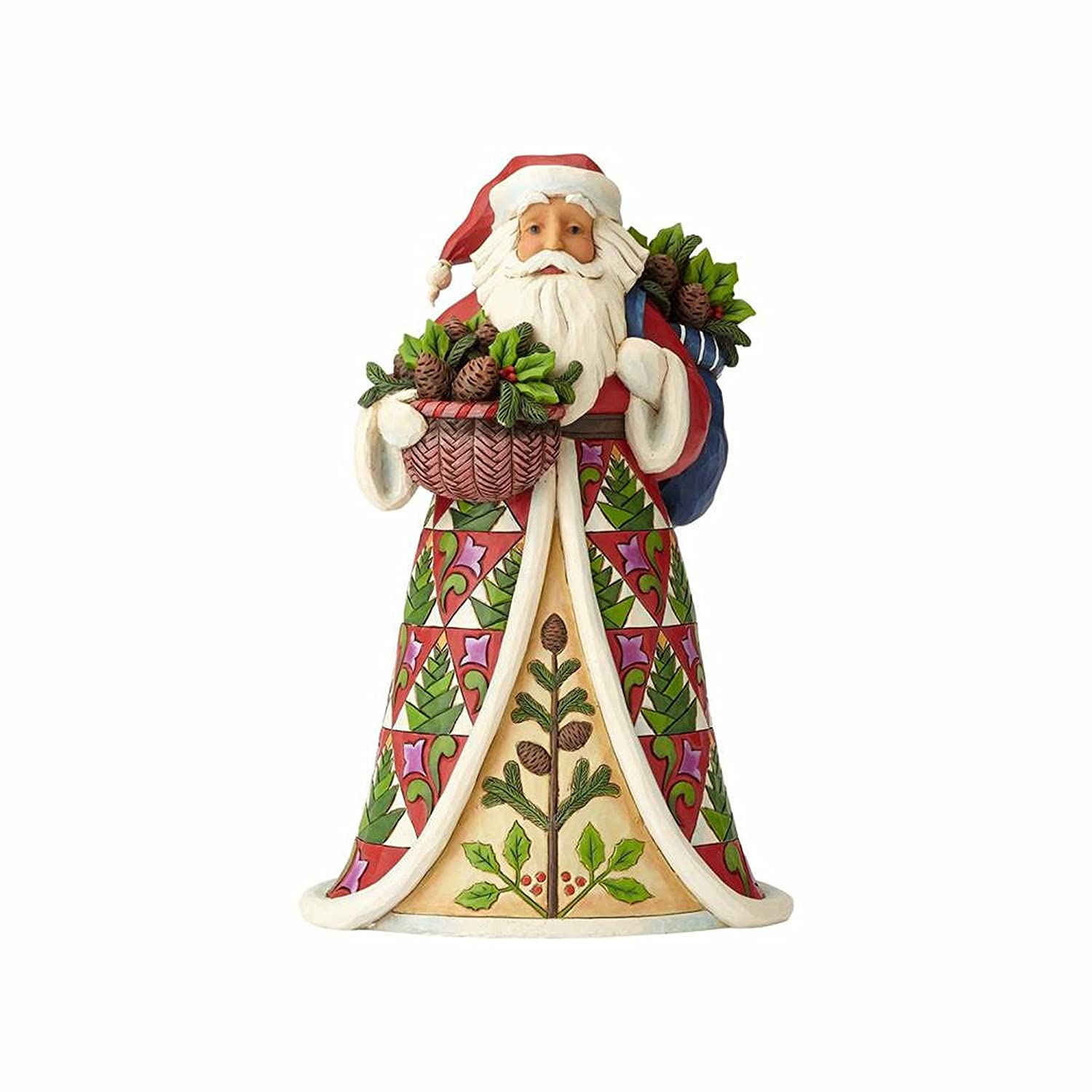 Heartwood Creek Santa with Pinecone Basket Figurine Decorazione, Multicolour, Taglia Unica Enesco 4058785