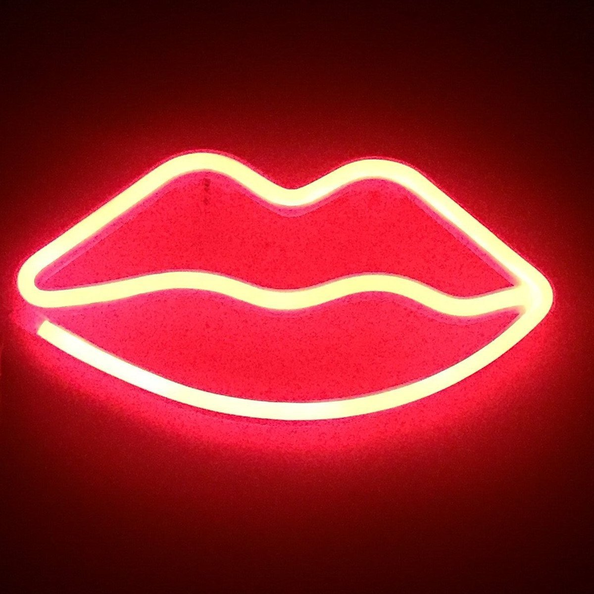 Led Neon Cactus Sign Love Sign Art Decorative Lights Wall Decor Home Party Decoration Kids Room Living Room LED Decorative Neon Lights (Lips