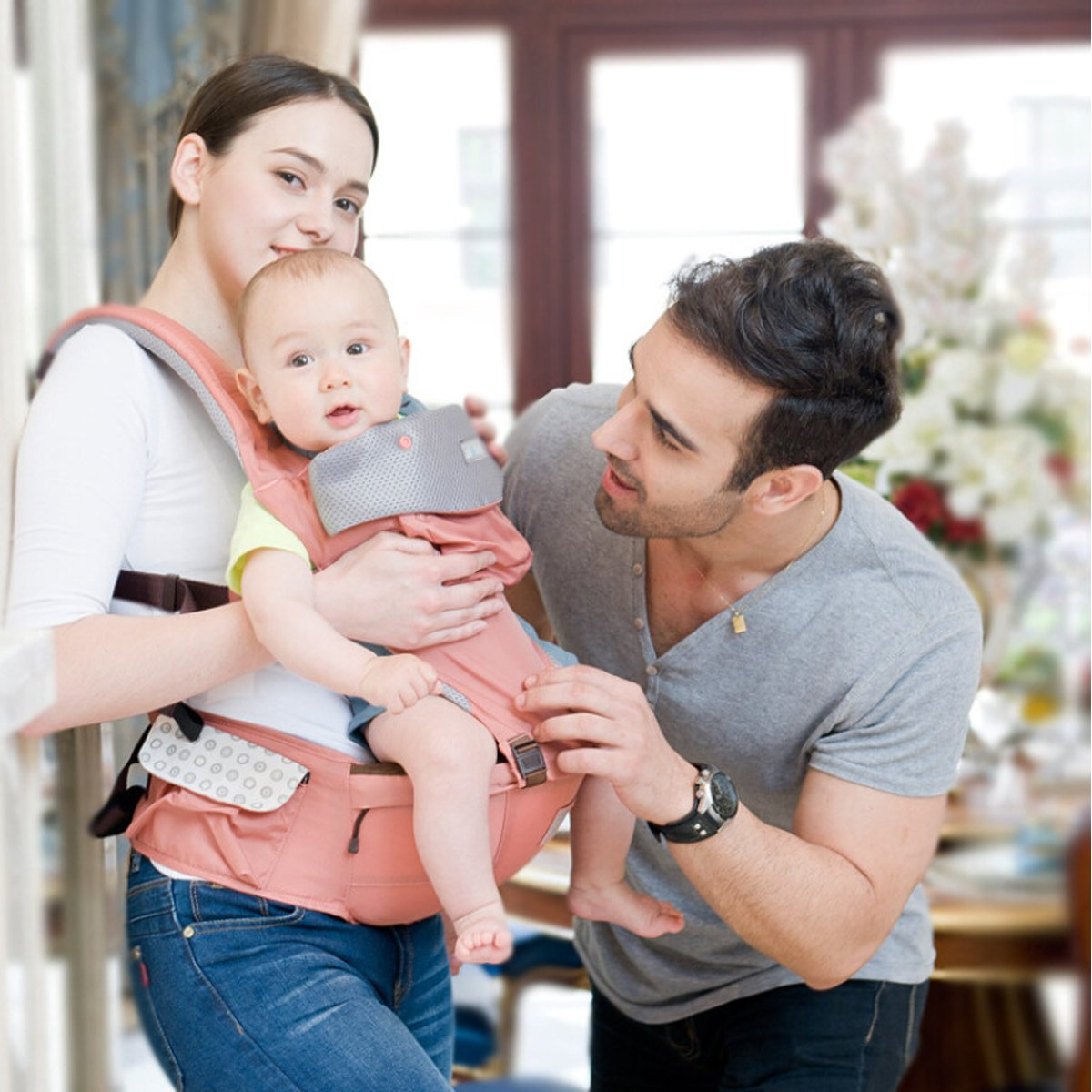 Babytrage,Oxford Stoff,6 Tragepositionen,Atmungsaktive Mesh-Unterst/ützung,Freie Gr/ö/ße,100/% Unbegrenzt Garantie,Ideal Geschenk Rosa SONARIN Vier Jahreszeiten Ergonomische Hipseat Baby Carrier
