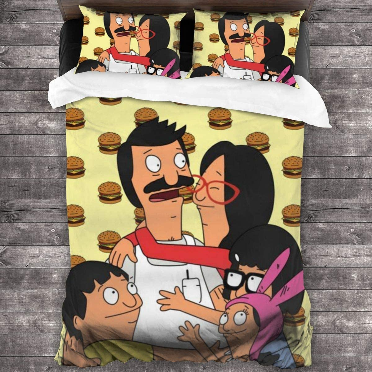 3 Pieces Bob's_Burgers Bedding Sets Bed Comforter Set 86x70 Inch with 2 Throw Pillow Case