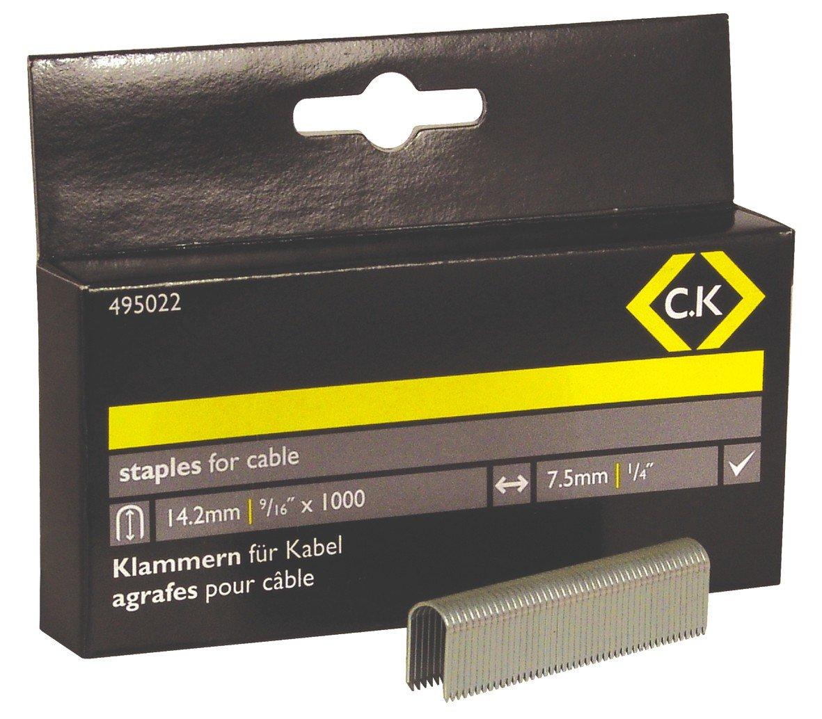C.K 495022 Agrafes pour C/âbles Demi-rondes 7,5 x 14 mm