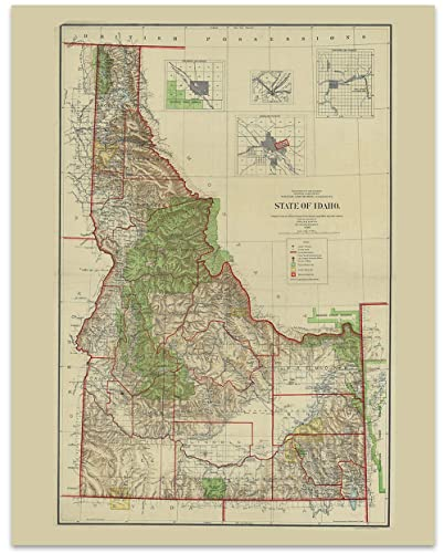 image relating to Printable Map of Idaho known as Idaho Typical Map Circa 1905-11 x 14 Unframed Print - Excellent Housewarming Present. Idaho Themed Place of work Decor.