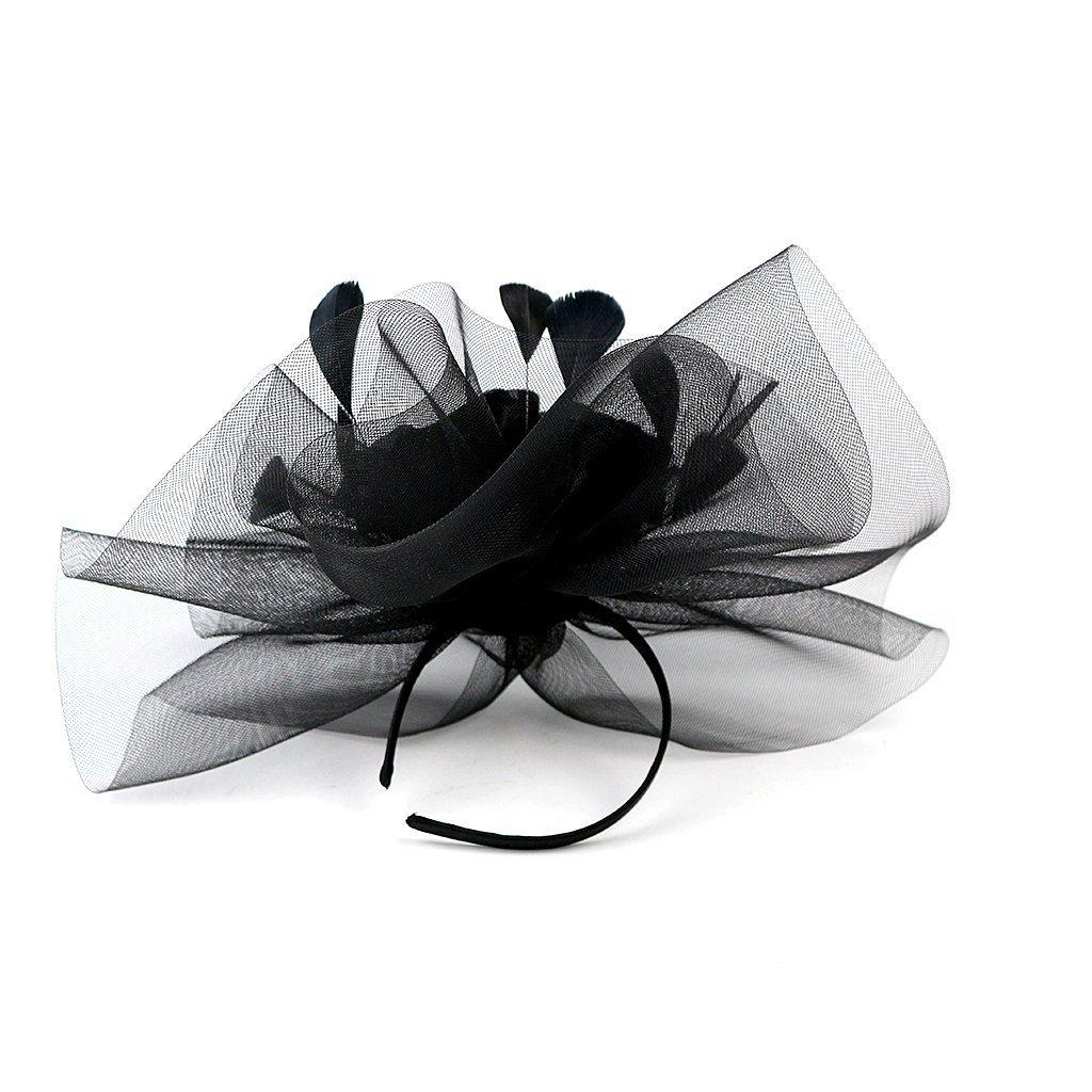 Merya Dress Kentucky Derby Fascinator Hats Feather Prom Cocktail Tea Party Hat Black-AA by Merya Dress (Image #8)