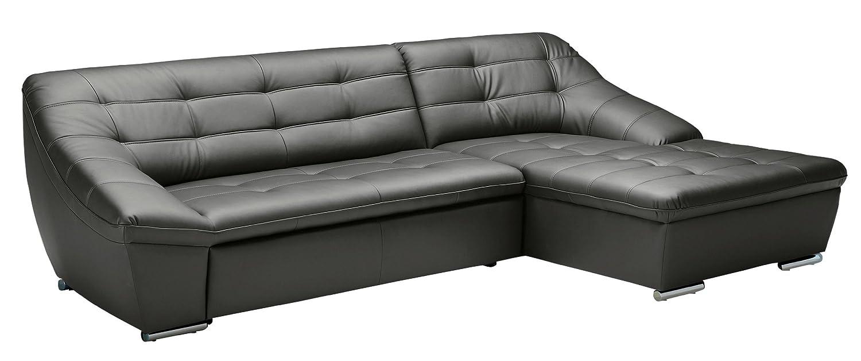 Polsterecke Lucas/3 Bett-Longchair mit Bettkasten/287x81x165 cm/Leder Punch antrazith-Poroflex softy platin