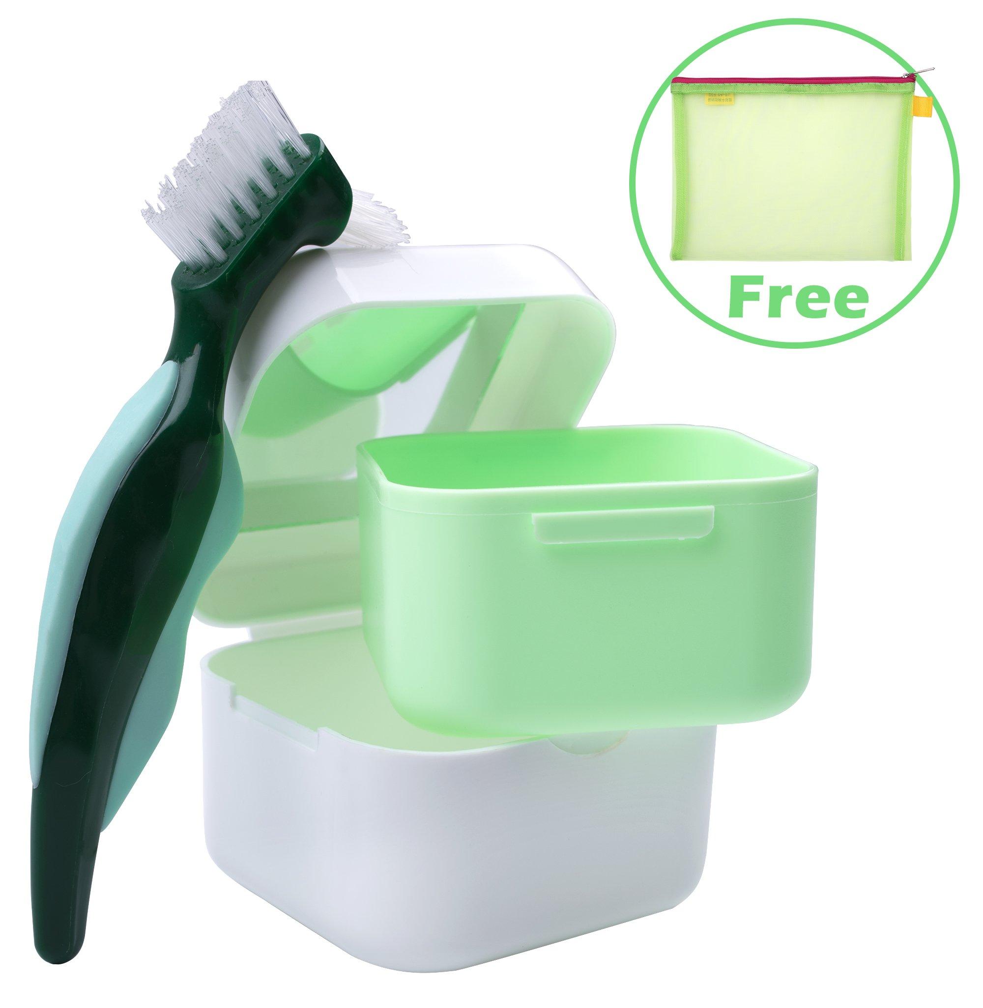 Denture Case,Denture Brush Retainer Case,Denture Cups Bath,Dentures Container with Basket Denture Holder for Travel,Retainer Cleaning Case (Green with Mirror)