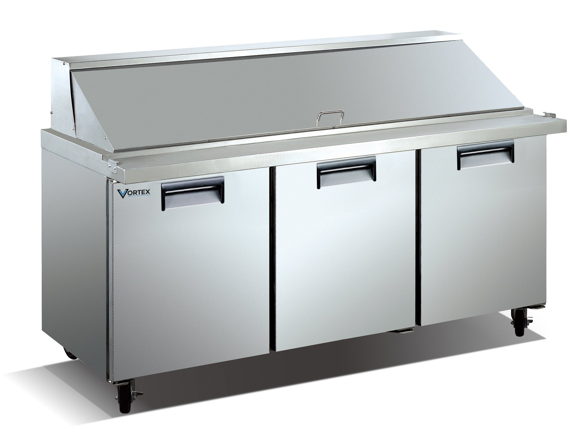 Vortex Refrigeration Commercial 3 Door 72'' 30 Pan Mega Top Sandwich Prep Table - 20 Cu. Ft. PREMIUM MODEL!